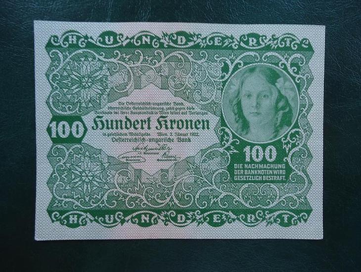 100 Kronen 1922 Bez Pretisku aUNC - Bankovky