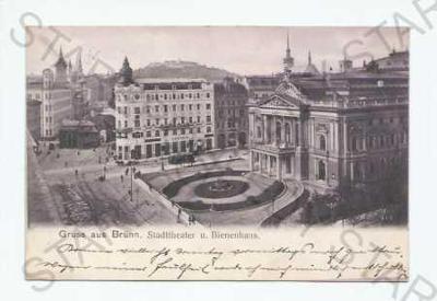 Brno obchod tramvaj divadlo