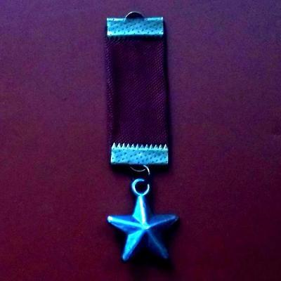 Kovová Sovětská Hvězda Vyznamenání s rudou stuhou 70x20mm