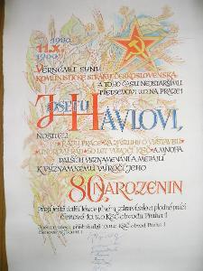 Blahopřání k 80. narozeninám člena KSČ  /1900 - 1980/, signováno