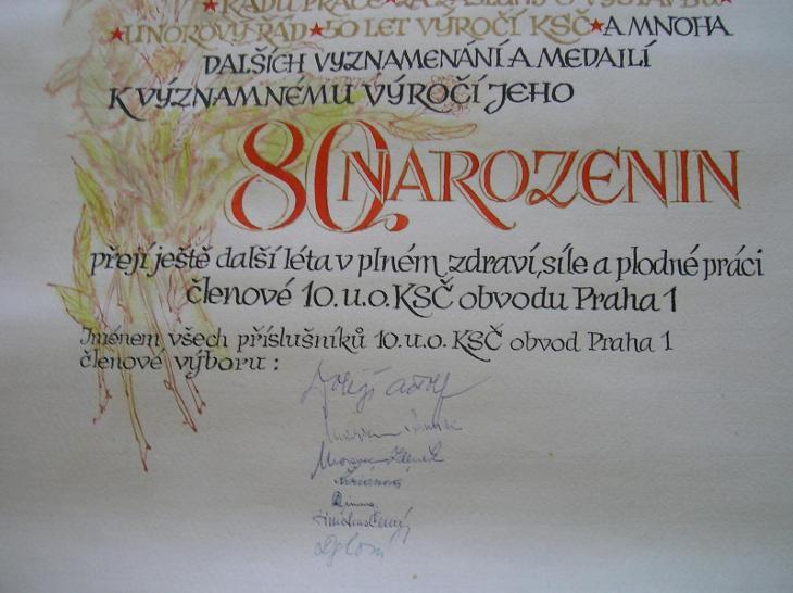 Blahopřání k 80. narozeninám člena KSČ  /1900 - 1980/, signováno - Antikvariát