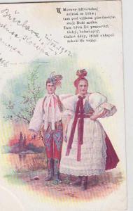 Kroje, muž se ženou, kolorovaná, DA