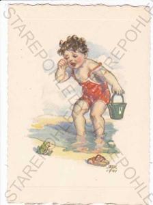 Marie Fischerová-Kvěchová, kresba, plačící chlapec