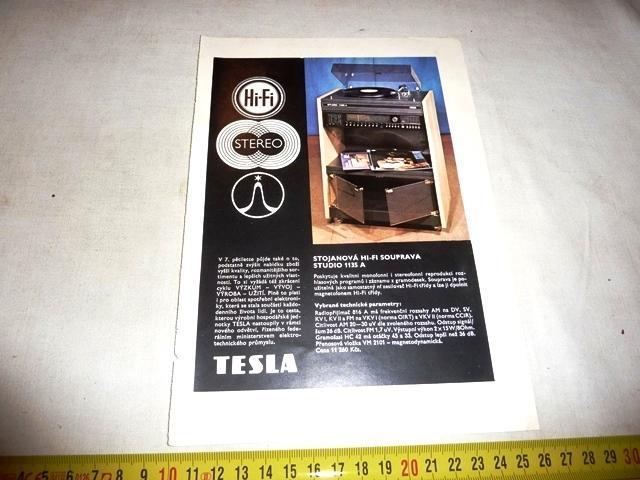 TESLA Hi - Fi   magnetofon , gramofon repro  REKLAMA  80 léta  - Starožitnosti