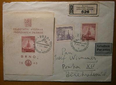 1946 ČSR-II A437 + R-nálepka 12 /dopis letecky