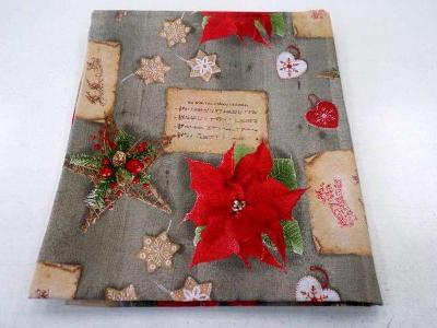 Sváteční ubrus bavlna směs Vánoční poezie 160x140 cm,česká výroba.