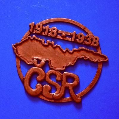 Plaketa ČSR - První Republiky 1918-1938 , rozměr 115x15mm ,Mapa