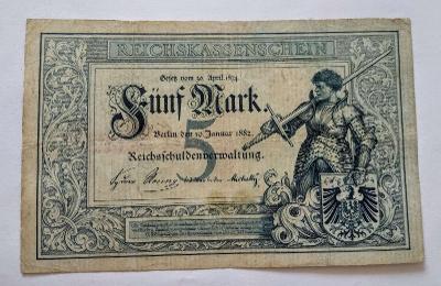 Německo 5 mark 1882 Reichskassenschein Rytíř