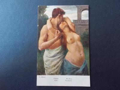 Starší umělecká pohlednice dívka žena muž erotika Polibek