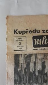 Výstřižek novin Mladá fronta 2.květen 1955 od 1,-