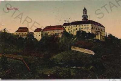 Náchod - zámek, litografie, kolorovaná