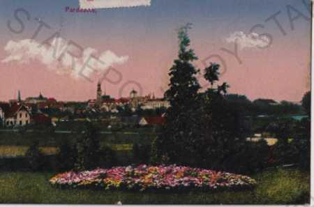 Pardubice, pohled na město, litografie, kolorovaná