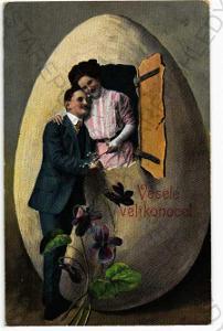 Veselé Velikonoce koláž muž se ženou