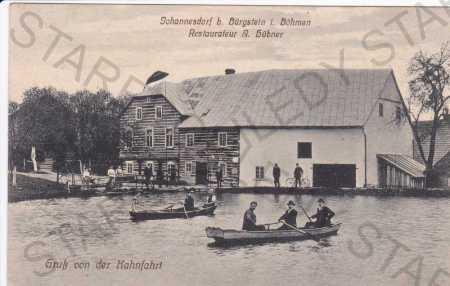 Janov u Sloupu, lidé na loďkách