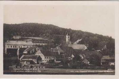 Prášily na Šumavě, kostel a okolí
