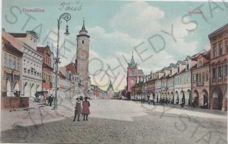 Domažlice, Náměstí, kolorovaná, litografie