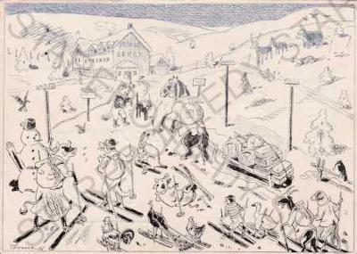 Martinovka, horská bouda, Krkonoše, humorná kresba