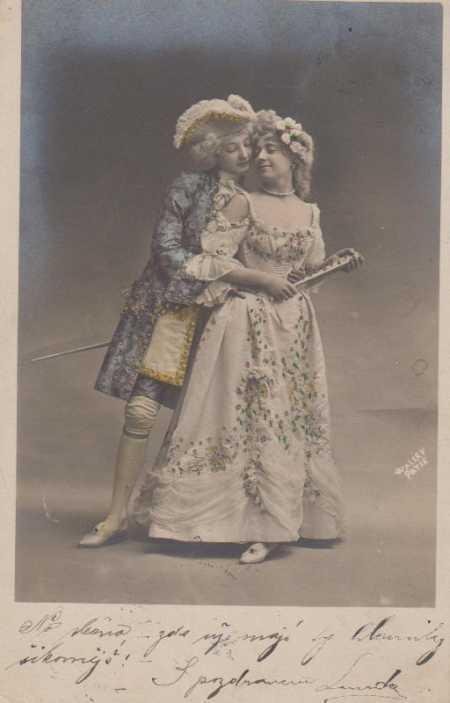 Skupinový portrét, muž s ženou, kolorovaná - Pohlednice
