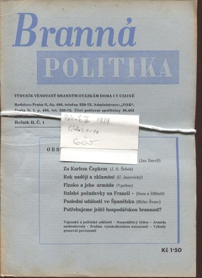 Branná politika, ročník II./1939, číslo 1. - 10. Týden - Knihy