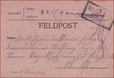 Feldpost nr. ?? * polní pošta, razítko, regiment, skládaný dopis F05