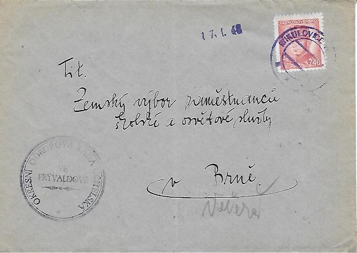 Firemní obálka Frývaldov Mikulovice provizorium 1945 - Filatelie