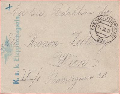 Feldpost nr. 22 * polní pošta, razítko, regiment, obálka F21