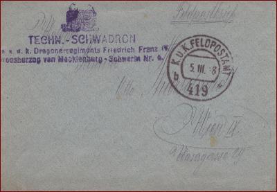 Feldpost nr. 419 * polní pošta, razítko, regiment, obálka F49