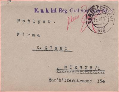 Feldpost nr. 613 * polní pošta, razítko, regiment, obálka F52