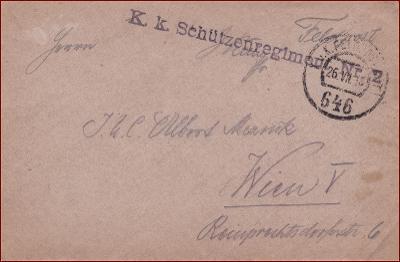 Feldpost nr. 646 * polní pošta, razítko, regiment, obálka F53