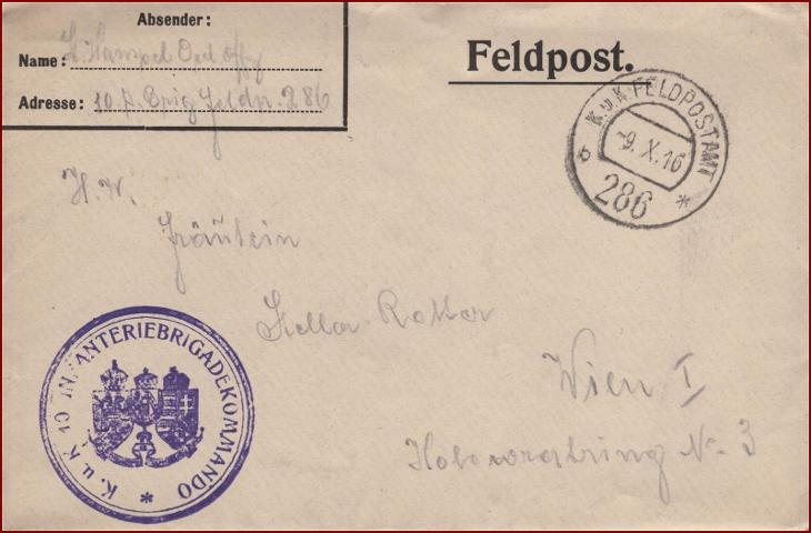Feldpost nr. 286 * polní pošta, razítko, regiment, obálka F57 - Filatelie