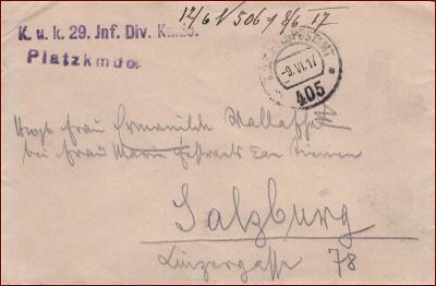 Feldpost nr. 405 * polní pošta, razítko, regiment, obálka F58