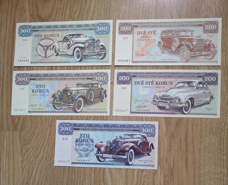 Zlatá sbírka V. ZAPADLÍKA, bankovky A03, B03, C03, D03, E03 GÁBRIŠ - Bankovky