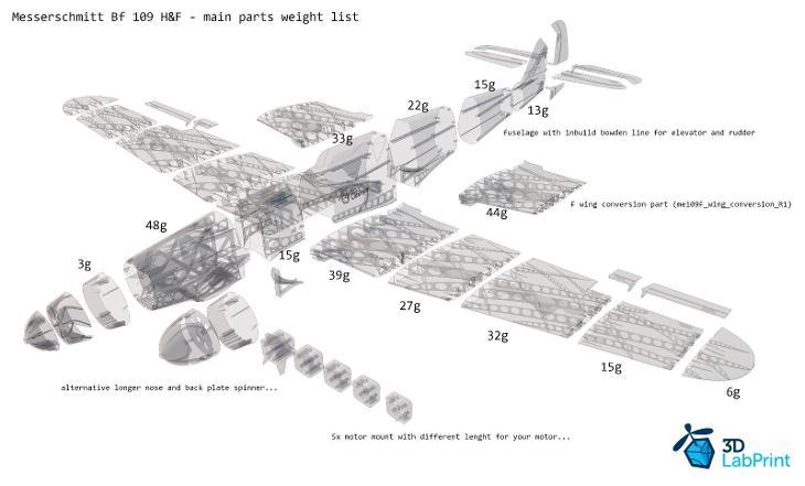 RC Model MESSERSCHMITT BF 109 F - 3D tisk model rozpětí 890mm - Modelářství