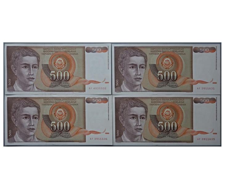 4x 500 dinárů 1991, Jugoslávie - Bankovky