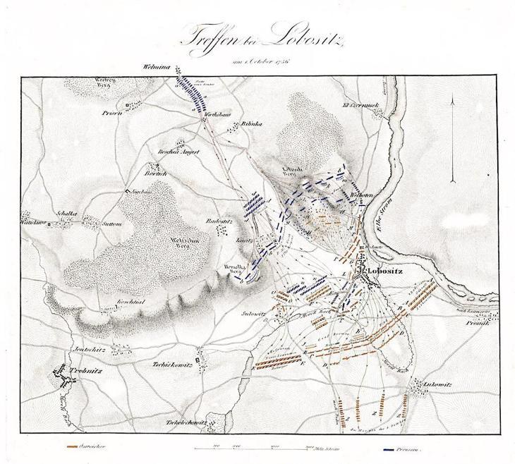 Lovosice bitva , mědiryt, 1840 - Antikvariát