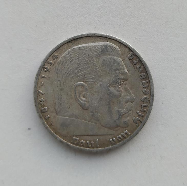 5 Reichsmark 1936 A Říšská marka Paul von Hindenburg Ag mince stříbro - Numismatika