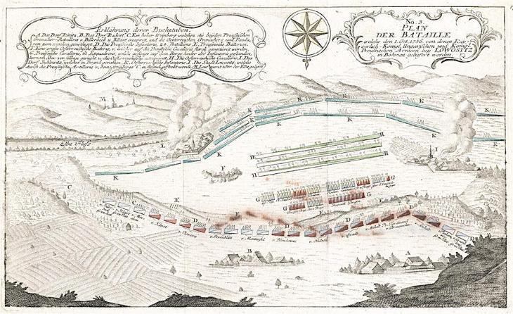 Lovosice bitva, mědiryt 1756 - Antikvariát