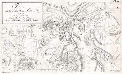 Lovosice,  bitva plán, mědiryt 1759