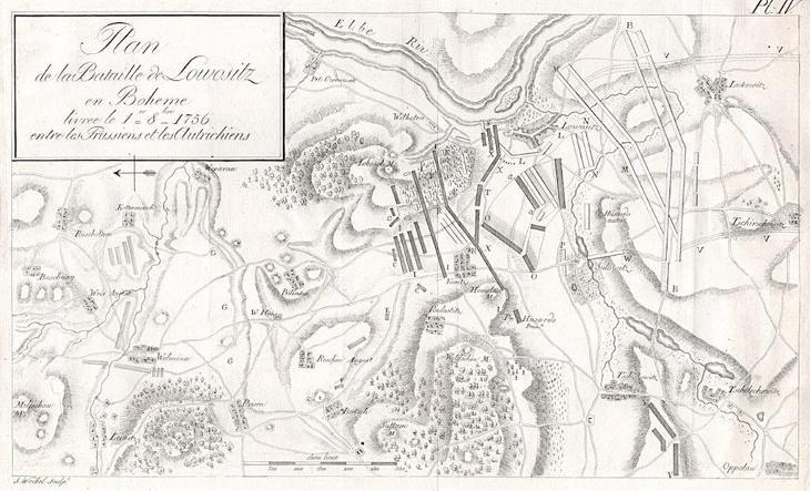 Lovosice,  bitva plán, mědiryt 1759 - Antikvariát