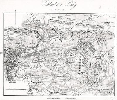 Praha 1757 bitva, Rothenburg, mědiryt 1847