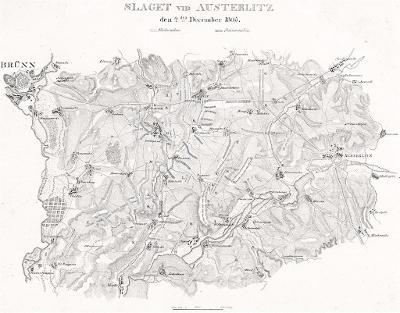 Slavkov bitva 1805, litografie, 1831