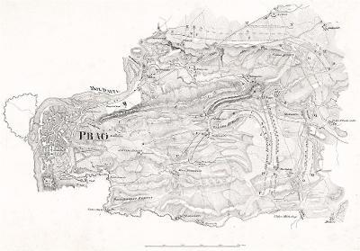 Praha bitva 1757, litografie, 1831