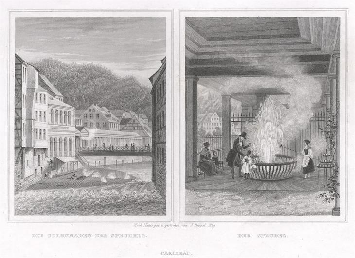 Karlovy Vary vřídlo, Lange, oceloryt, 1842 - Antikvariát