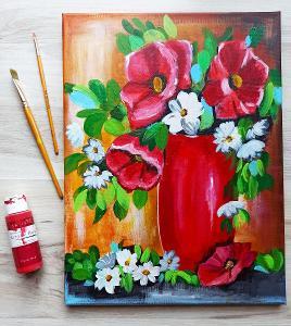 Vlčí máky - akryl, autorská malba