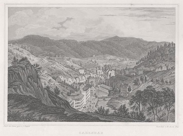 Karlovy Vary celkový pohled, Lange, oceloryt, 1842 - Antikvariát