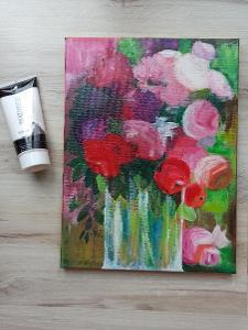 Abstraktní květy - akryl, autorská malba