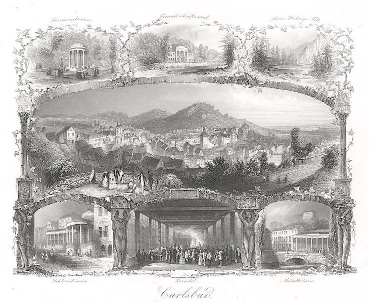 Karlovy Vary , Payne, oceloryt 1860 - Antikvariát
