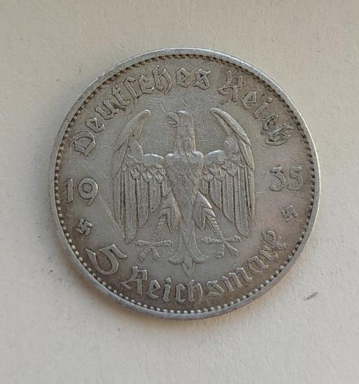 5 Reichsmark 1935 A Říšská marka věž kostela Ag mince stříbro - Numismatika