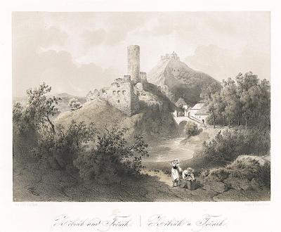 Žebrák a Točník, Haun, litografie, 1860