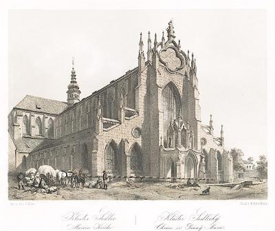 Sedlec klášter, Haun, litografie, 1860